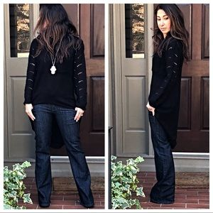 Sweaters - Black high low knit sweater
